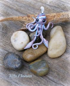 Squidlet Polymer Clay Pendant/Charm~Blue/Brown by TNTPatterns on Etsy