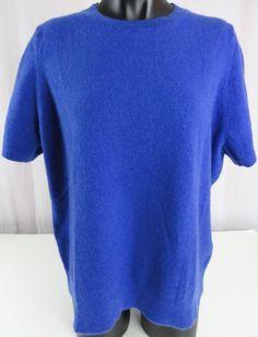Lands' End Womens 1X 100% Cashmere Sweater Royal Blue Crew Neck Short Sleeved #LandsEnd #Cardigan
