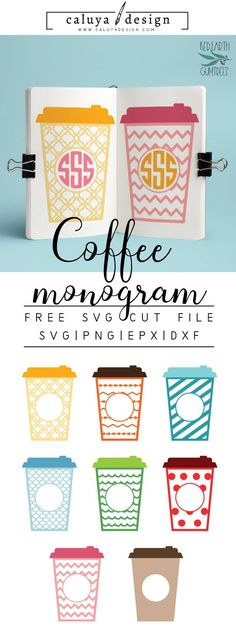 FREE Travel Mug Monogram SVG cut file, Printable vector clip art download. Free printable clip art coffee. Compatible with Cameo Silhouette, Cricut explore and other major cutting machines. free for personal use, only $3 for commercial use. Perfect for DIY craft project with Cricut & Cameo Silhouette, card making, scrapbooking, making planner stickers, making vinyl decals, decorating t-shirts with HTV and more! Free SVG cut file, coffee SVG cut file, travel mug SVG Cut file, monogram SVG…