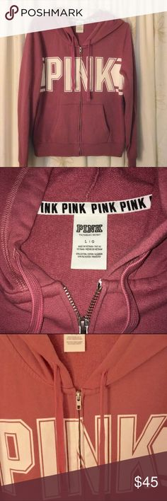 VS PINK Dusty Rose  Full Zip Hoodie Awesome shade! Great basic full zip hoodie in excellent condition. Runs true to size. I do not trade, hold, or indicate my lowest in comments. Check out my other listings to bundle and save 25% ! PINK Victoria's Secret Tops Sweatshirts & Hoodies