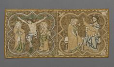 Burse  Place of origin: England, Great Britain (made)  Date: 1310-1340 (made)  Artist/Maker: Unknown (production)  Materials and Techniques: Linen, embroidered in silver-gilt thread and silk