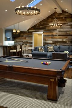Basement Game Room with Pool Table