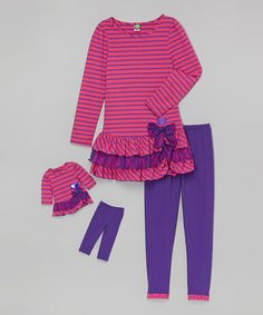 Love this Pink Skirted Tunic Set & Doll Outfit - Toddler & Girls by Dollie & Me on #zulily! #zulilyfinds