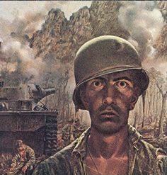 The Two-Thousand Yard Stare is a portrait of a young marine who has had all, or more than, he can take. The staring eyes, the slack lips, the sleepwalker's stance. I've seen men with that look on their faces. I've had it on my own face. It feels stiff, and the muscles don't want to work right when you try to smile, or show expression, or talk. Mercifully, you're out of it for a while; unmercifully, down in the center of that numbness, though, you know you will have to come back eventually.