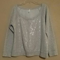 Cute grey sweatshirt with clear sequins In good condition. sequins are only on the front. It's an XXL but it fits like a woman's large. Xhilaration Tops Sweatshirts & Hoodies