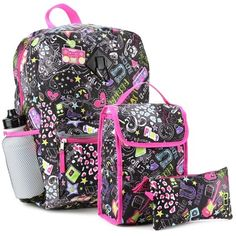 "Save 10% on all backpacks until August 31 2016 Set Includes 16"" Backpack, Insulated Lunch Bag, Pencil Case, Water Bottle and Caribiner Clip Made From 100% Polyester Label Confetti From kidsfashionmore.com"