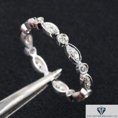 Art Deco Full Diamond Milgrain Pattern Wedding Band 14k White Gold
