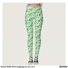 Green Polka Dots Leggings by MousefxArt.Com (Mousefx Zazzle Store) Perfect for St. Patrick's Day!