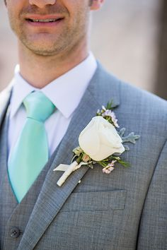 grey and mint groom