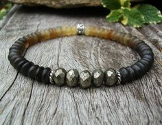 Men's Ombre Horn Bead and Faceted Pyrite Stretch Bracelet - perfect for that special someone... by BonArtsStudio