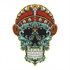 Floral skull with simple headdress Crane, Floral Skull, Art Floral, Flower Background Design, Retro Wedding Invitations, Golden Pattern, Skull Illustration, Vintage Monogram, Ornaments Design
