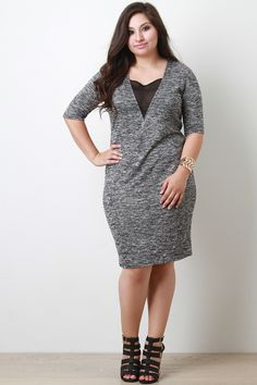 Plus Size Melange Sheer Panel Dress