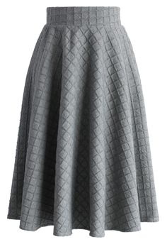 Embossed Gingham A-line Skirt in Grey - New Arrivals - Retro, Indie and Unique Fashion