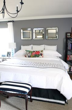 Our bedding and curtains are already black and white and we're fixing to paint our room gray next week!