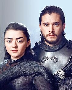 Arya Stark (Meisie Williams) and Jon  Snow (Kit Harrington) Game of Thrones. ASOIAF