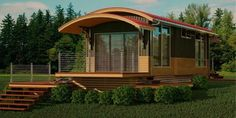 Small and modern, like the roofline. Add Some solar & screen in a porch. A carport Too...need to inherit some $$$$