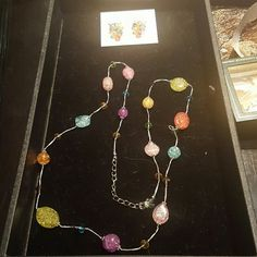 """Premier Designs """"Jellybean"""" Earrings and Necklace Imitation rhodium plated, glass and beads. 38"""" necklace with 3"""" extender and lobster claw closure. Fishhook earrings. Worn twice, excellent condition. Premier Designs Jewelry"""