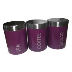 Set of 3 Purple Tea Coffee Sugar Storage Canisters Kitchen Accessories