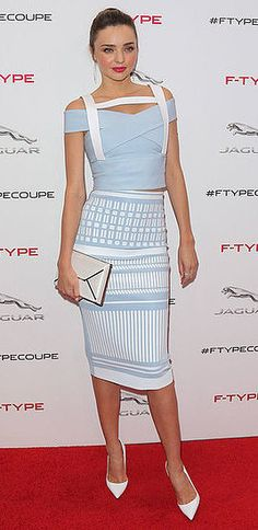 Miranda Kerr: Miranda hit the red carpet at a Jaguar event in LA in a powder blue David Koma top and skirt, which she finished with chic white pumps.