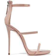 Giuseppe Zanotti Harmony patent-leather sandals ($785) ❤ liked on Polyvore featuring shoes, sandals, heels, giuseppe zanotti, pink, strap heel sandals, strap sandals, pink heel sandals, heeled sandals and high heel shoes