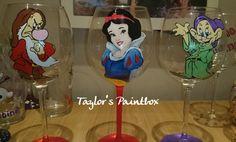 Snow White Inspired Hand Painted Glass Wine by TaylorsPaintbox