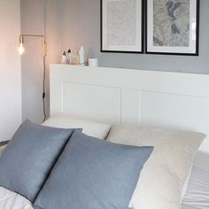 Makuuhuoneen tunnelmia. Tykkään kovasti näistä rauhallisista ja viileistä sävyistä... // #interiorlover #interiordesigner #sisustusblogi #cozyinterior #interiorinspiration #newblogpost