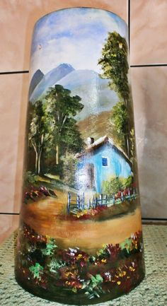 telha pintada a mao com massa corrida - Pesquisa Google Roof Tiles, Country Scenes, Madonna And Child, Milk Cans, Tile Art, Painting On Wood, Poppies, Miniatures, Pottery