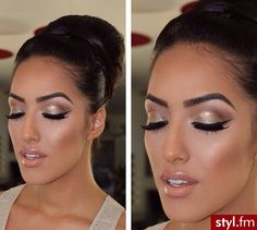 Glam eyes with neutral lips.