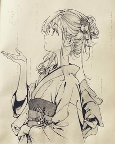 Uraraka in yukata Anime Drawings Sketches, Anime Sketch, Cute Drawings, Anime Character Drawing, Manga Drawing, Character Art, Character Sketches, Anime Chibi, Manga Anime