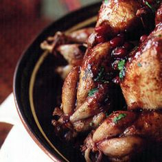 Quail in Pomegranate Sauce Recipe | SAVEUR Added cumin and coriander and used blackberries instead of pomegrante and topped with fresh cilantro