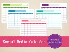 Colorful Social Media Planner - Weekly Social Media Calendar - Printable and Editable Weekly Planner Blog Planner, Erin Condren Life Planner, Weekly Planner, Happy Planner, 2016 Planner, Social Media Calendar, Social Media Tips, Social Networks, Social Media Marketing
