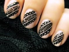 Really easy black lace nail tutorial!