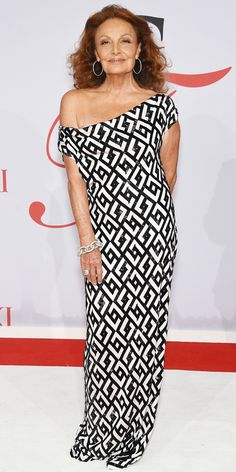 Diane von Furstenberg (b. Dec. 31, 1946) at 68 in 2015 - CFDA Awards 2015 Best Red Carpet Looks - Diane von Furstenberg from #InStyle