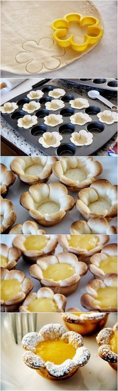 Flower shaped Mini Lemon Curd Tarts Cookies Recipe perfect for the Pampered Chef Mini Muffin Pan. Like my Facebook page for more recipes, tips and ideas: www.facebook.com/JenniferMentingsPamperedChefpage