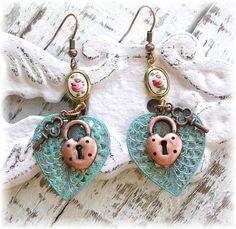 Vintage Guilloche Enamel Rose Filigree Heart Earrings by TheVintageHeart