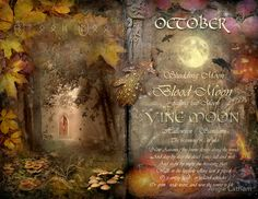 "Book of Shadows Moon: ""October: Vine Moon,"" by Angie Latham. It makes a lovely Moon page for a Book of Shadows. Libra, Scorpio Woman, Tarot, Samhain Halloween, Halloween Facts, Moon Magic, Sabbats, Practical Magic, Blood Moon"