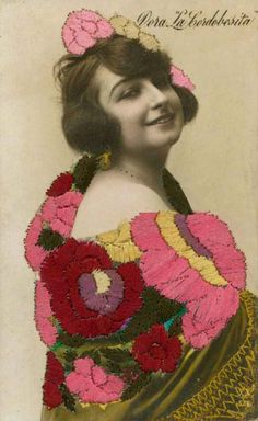 Embroidered vintage Photo Card