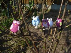 These are the cutest crocheted owls, mounted on a clothespins! Instructions are . : These are the cutest crocheted owls, mounted on a clothespins! Instructions are posted as well. (not in English though) Crochet Birds, Knit Crochet, Chrochet, Felt Owls, Cute Owl, New Pins, Crochet Projects, Free Pattern, Diy And Crafts