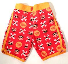 Boys Size 4T Paul Frank Julius Monkey Skull Print Swim Trunks, Mesh Lined