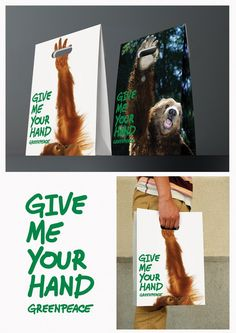 """These cute paper bags were designed for the Greenpeace campaign """"Give me your hand"""" in support to the animal"""