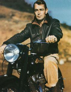 Alan Ladd, actor. #MOTORCYCLE #BIKERS #MOTORCYCLEFEDERATION