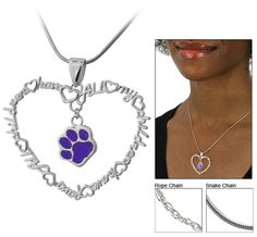 All My Children Have Paws Purple Paw Sterling Necklace at The Animal Rescue Site