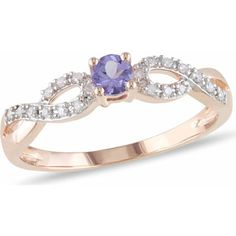 1/6 Carat T.G.W. Tanzanite and Diamond Accent Pink Rhodium over Sterling Silver Cross-Over Ring