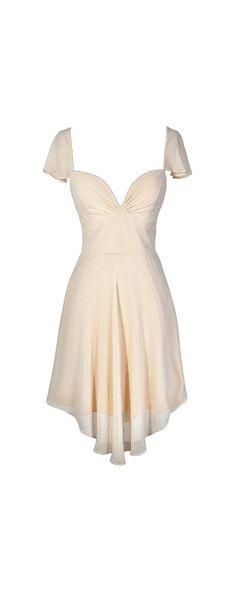 Flirt and Flutter Chiffon Dress in Cream  www.lilyboutique.com