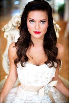 Bride's stunning long classic half up bridal hair ideas  Toni Kami Wedding Hairstyles ♥ ❷ Perfect makeup