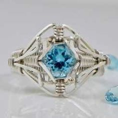 """Swiss Blue Topaz Ring of the Elements"" Gemstone Sized Wire Ring"