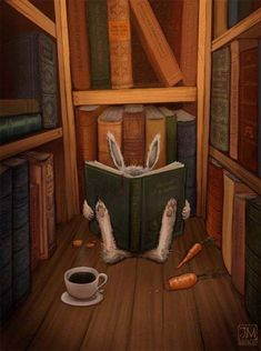 In a corner of the library . (illustration by Jimmy Moreli) Lapin Art, Rabbit Art, Rabbit Book, Bunny Book, Bunny Art, Book Nooks, Children's Book Illustration, Cat Illustrations, I Love Books