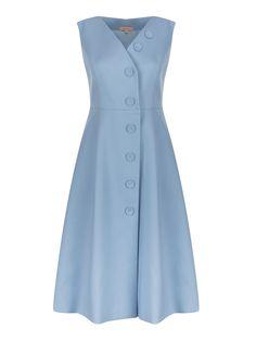 Mavi Kruvaze Kapama Düğmeli Gabardin Elbise