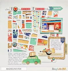 Madeline Fox for Scraptastic   awesome page, with a  tutorial for how to make a die-cut out of a map (very cool!)