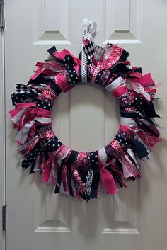 ribbon wreath for my daughter's Hot Pink and Black bedroom